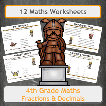 Fun Viking Themed Fractions, Decimals and Percentages Worksheets for 4th Grade