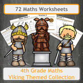 Viking Themed Maths Worksheet Bundle for 4th Grade Classes