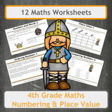 Fun Viking Themed Numbering and Place Value Worksheets for 4th Grade Classes