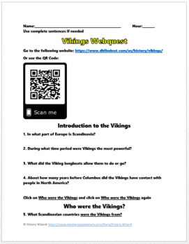 Vikings: Warriors and Religion Webquest
