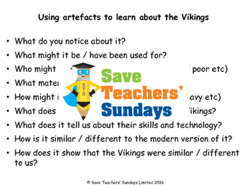 Viking artifacts Lesson plan, Questions and Images