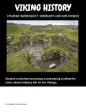 Viking ordinary life, student worksheet, summarising scaffold