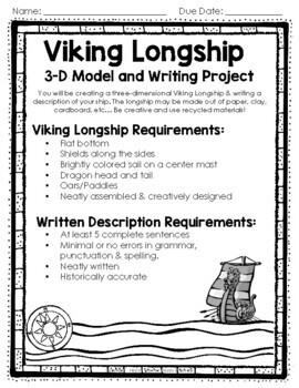 Vikings Activities - Viking Longship 3-D Model & Runic Alphabet Activity