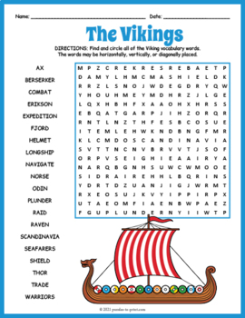 Vikings Word Search Puzzle