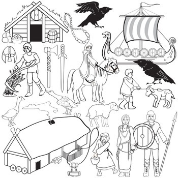 Vikings Clip Art - Medieval History - Middle Ages Norsemen