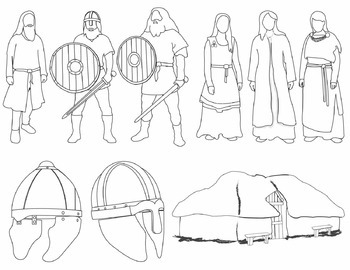 Vikings Clip Art: People and Artifacts (BLACKLINE ONLY)