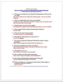 Vikings: Gods and Mythology Worksheet