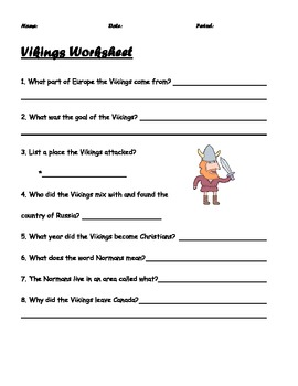 Vikings Worksheet