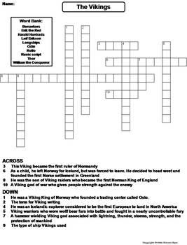 Vikings Worksheet/ Crossword Puzzle