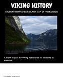 Vikings homelands blank map, student worksheet