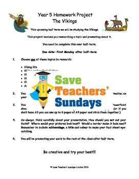 Vikings homework project & presentation Lesson plan & Letter for parents