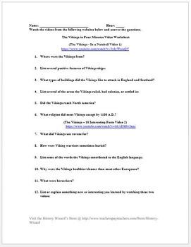Vikings in 4 Minutes Video Worksheet
