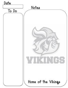 Vikings mascot To Do, note taking sheet