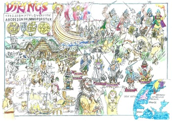 Vikings overview picture sheets, project covers, posters - Patchwork Print edu.