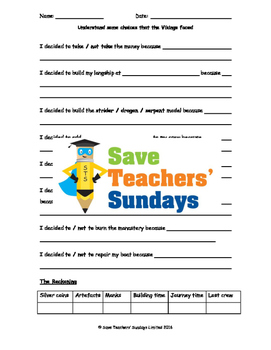 Vikings quest game Lesson Plan and Worksheet