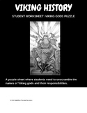 Vikings religion, student worksheet, Viking gods puzzle