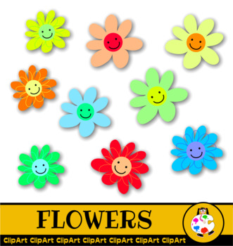 Village House Clip Art & Decorative Happy Flowers