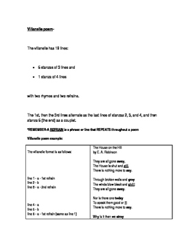 Villanelle Poetry introduction and comprehension questions