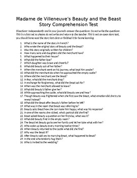Villenueve Beauty and the Beast Comprehension Test