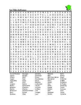 Villes de France (Cities of France) wordsearch