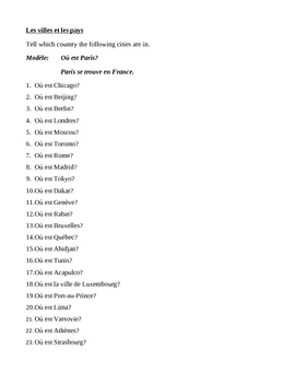 Villes et pays (Cities and Countries in French) Worksheet