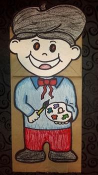 Vince VanGogh Painter Artist Paper Bag Puppet