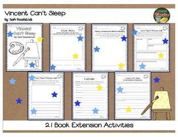 Vincent Can't Sleep by Barb Rosenstock 21 Book Extension Activities NO PREP