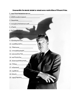 Vincent Price Notes and Word Scramble Puzzle Wordksheet