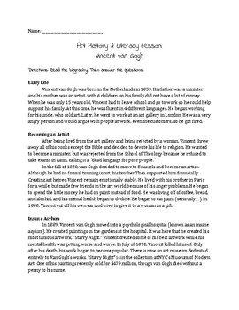 Vincent Van Gogh Art History/Literacy Handout