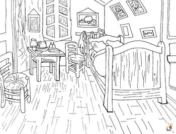 Vincent Van Gogh - Bedroom in Arles Coloring Page