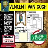 Vincent Van Gogh Biography Research, Bookmark Brochure, Pop-Up Writing Google