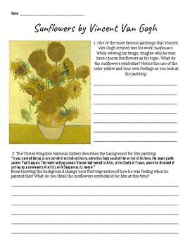 Vincent Van Gogh Doctor Who Worksheet