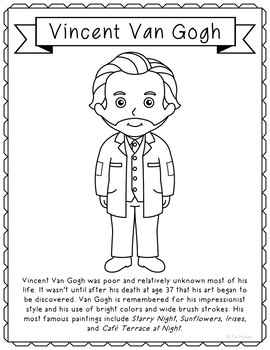 Vincent Van Gogh, Famous Artist Informational Text Coloring Page Craft