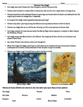Vincent Van Gogh Read Along Handout