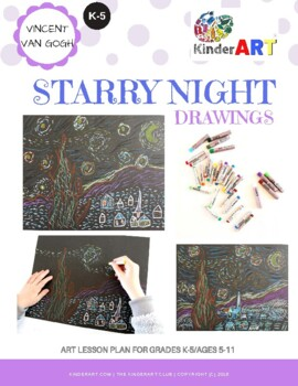 Vincent Van Gogh Starry Night DRAWING Lesson Plan Pack with Worksheets