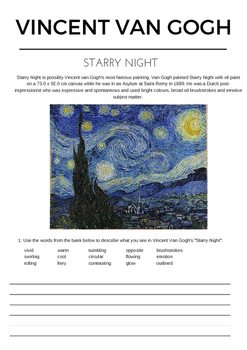 Vincent Van Gogh Starry Night worksheet