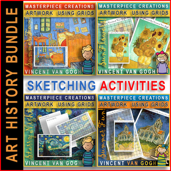 Summer Grid Art Drawing Fun Activities Bundle 4 In 1 Vincent