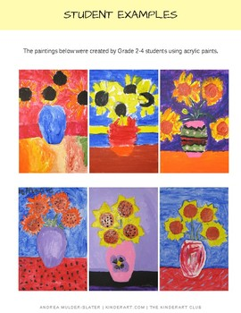 Vincent Van Gogh's Sunflowers in a Vase Lesson Plan with Worksheets