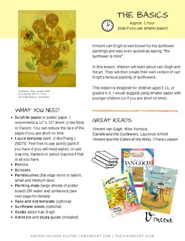 Vincent Van Gogh's Sunflowers Lesson Plan with Worksheets
