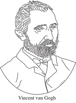 Vincent van Gogh Clip Art, Coloring Page, or Mini-Poster