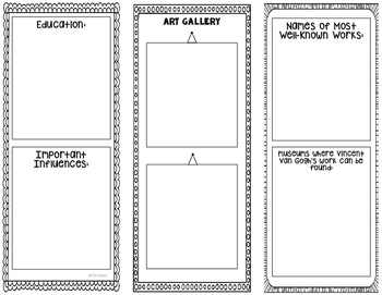 Vincent van Gogh - Famous Artist Biography Research Project Interactive Notebook