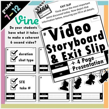 Vine Video Storyboard, Presentation and Exit Slip Bundle