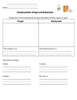 Baking Soda Vinegar Lab Worksheets & Teaching Resources | TpT