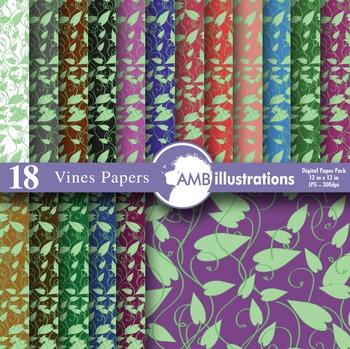 Vines pattern, floral, vine background, floral, vines digital papers, AMB-333