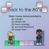 Vintage '80s Theme - Open House Announcements and Parent Nametags