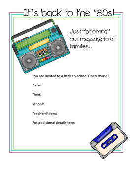 Vintage '80s Theme - Open House Announcements and Parent Nametags