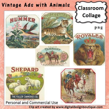 Vintage Ads with Animals Set 1 Clip Art - Color - personal & commercial use