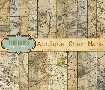 Vintage Antique Celestial Zodiac Astrology Star Chart Digital Scrapbook Paper