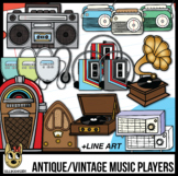 Vintage, Antique, Retro Music Players, Record Player Clip Art