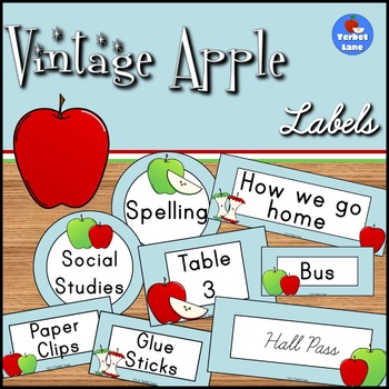 Vintage Apple Classroom Signs, Hall Passes and Supply Labels